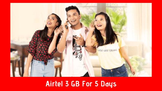 Airtel 3 GB For 5 Days