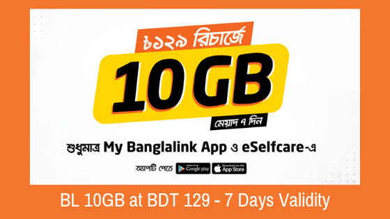 Get] Banglalink 10GB Data at 129 Taka - My Banglalink App